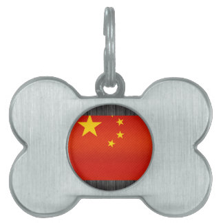 Modern Stripped Chinese flag Pet Tag