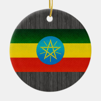 Modern Stripped Ethiopian flag Ceramic Ornament