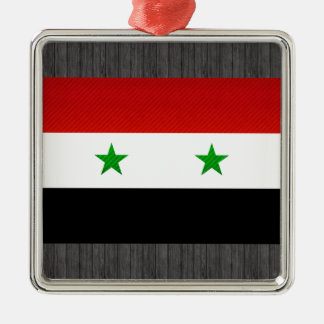 Modern Stripped Syrian flag Silver-Colored Square Ornament