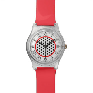 Modern Style Black, Red White Polka Dot Watch