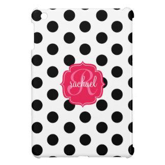 Modern Stylish Black & White Dots Pink Monogram iPad Mini Cover