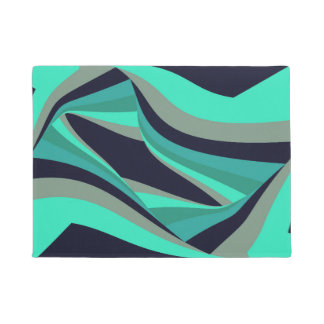 Modern Stylish Blue Green Aqua Teal Turquoise Grey Doormat