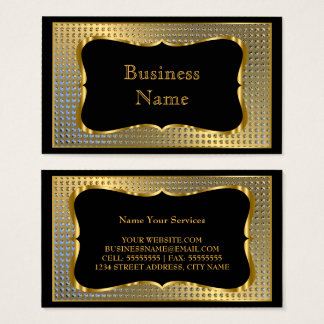 Modern Stylish Business Gold Black Metal Look Business Card