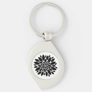 Modern Stylish Chic Black Flower Floral Design Keychain