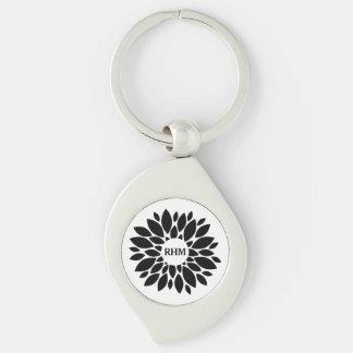 Modern Stylish Chic Black Flower Floral Monogram Keychain