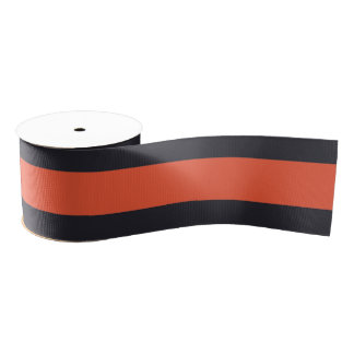 Modern Stylish Coral Navy White Stripes Grosgrain Ribbon