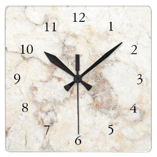 Modern stylish elegant white marble pattern square wall clock