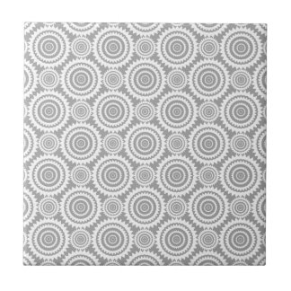 Modern Stylish Geometric Circles Grey and White Tile