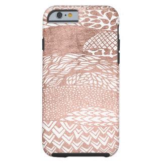 Modern stylish geometric rose gold pattern tough iPhone 6 case