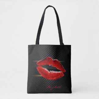 Modern Stylish Glitter Red Lips,Black-Personalized Tote Bag
