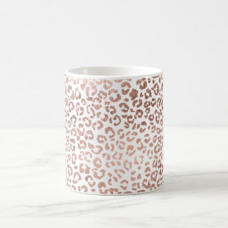 Modern stylish hand drawn rose gold leopard print classic white coffee mug