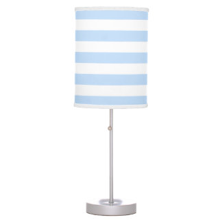 Modern stylish light blue white stripes table lamp