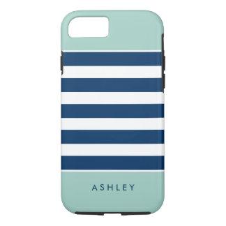 Modern Stylish Mint Navy White Stripes iPhone 7 Case