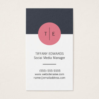 Modern Stylish Monogram Business Card No.2