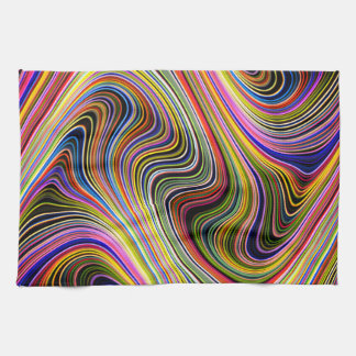 Modern Stylish Multicolor Curvy Lines Kitchen Towel