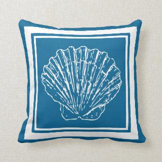 Modern Stylish Nautical Seashells Light Teal Blue Throw Pillow