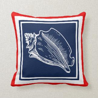 Modern Stylish Nautical Seashells On Red And Blue Throw Pillow