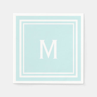 Modern Stylish Robin's Egg Blue Custom Monogram Paper Napkins