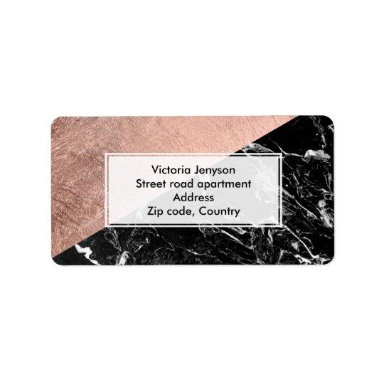 Modern stylish rose gold black marble colour block label