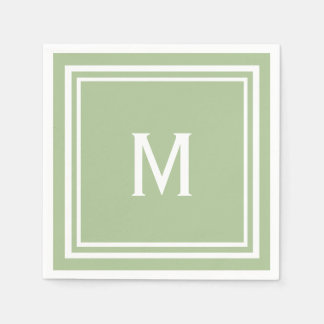 Modern Stylish Sage Green Custom Monogram Disposable Napkins