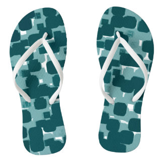 Modern Stylish Teal Abstract Pattern Flip Flops