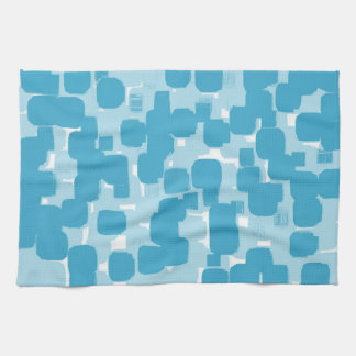 Modern Stylish Teal Abstract Pattern Hand Towel