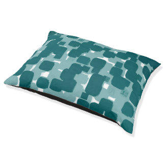 Modern Stylish Teal Abstract Pattern Pet Bed
