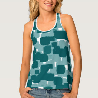 Modern Stylish Teal Abstract Pattern Tank Top