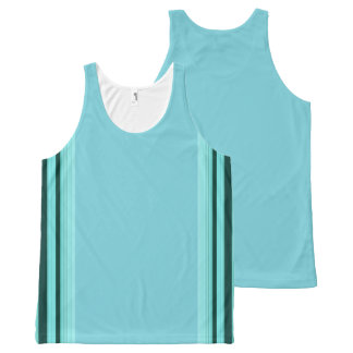 Modern Stylish Teal Striped Pattern All-Over-Print Tank Top
