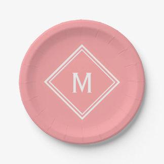 Modern Stylish Watermelon Pink Custom Monogram 7 Inch Paper Plate