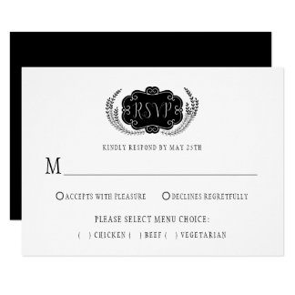 Modern Stylistic Black and White RSVP | Card