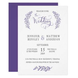 Modern Stylistic Ultra Violet Wedding Invitation