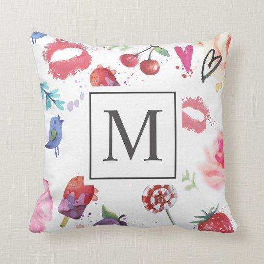 Modern Summer Chic Ditsy Monogram | Throw Pillow