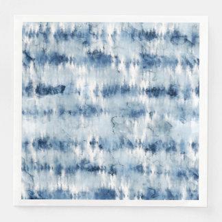 Modern summer navy blue tie dye watercolor paper napkin