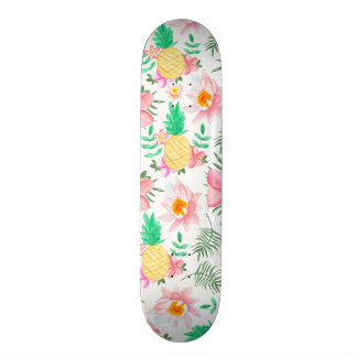 Modern summer pink yellow tropical floral pattern skate board deck