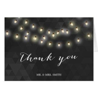 Modern Summer String Lights Wedding Thank You Card