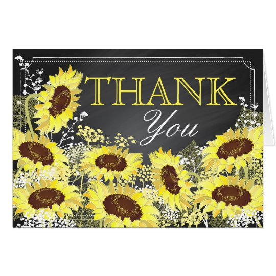 Modern Sunflower Chalkboard Thank You Card
