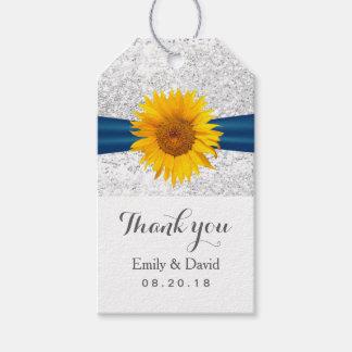 Modern Sunflower Silver Glitter Wedding Favor Gift Tags