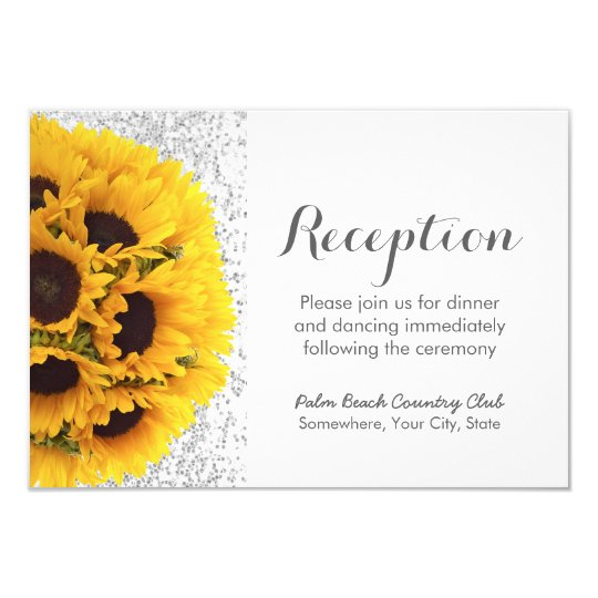Modern Sunflowers Silver Glitter Wedding Reception Card