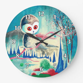 Modern Surrealistic Owl Wallclock