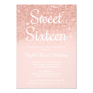 Modern Sweet 16 Rose Gold Glitter Peach Pink Card