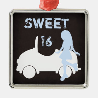 Modern Sweet 16 Silhouette Girl and Car Silver-Colored Square Ornament