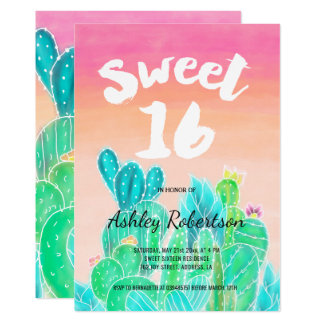 Modern sweet 16 spring watercolor cacti card