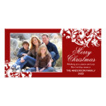 Modern Swirl Flourish Christmas Red and White Picture Card