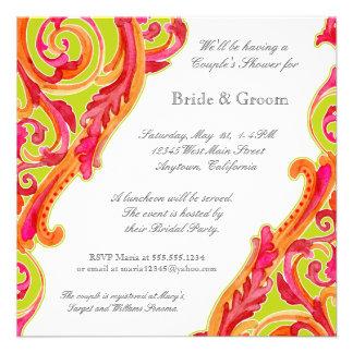 Modern Swirl Flourish Heart Couples Shower Invite