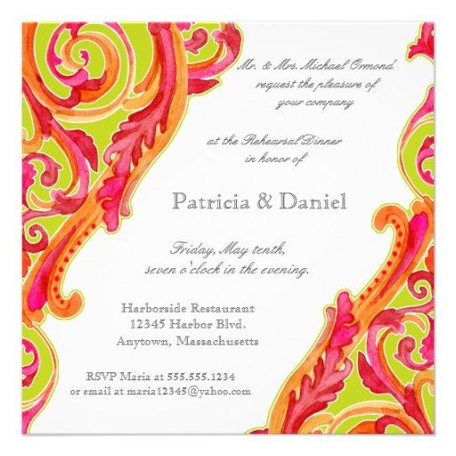 Modern Swirl Flourish Heart Rehearsal Dinner Card Announcement