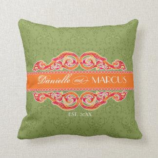 Modern Swirl Flourish Heart Tangerine Chic Citrus Throw Pillow