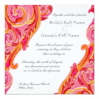 "Modern Swirl Flourish Heart Tangerine Hot Pink 5.25"" Square Invitation Card"