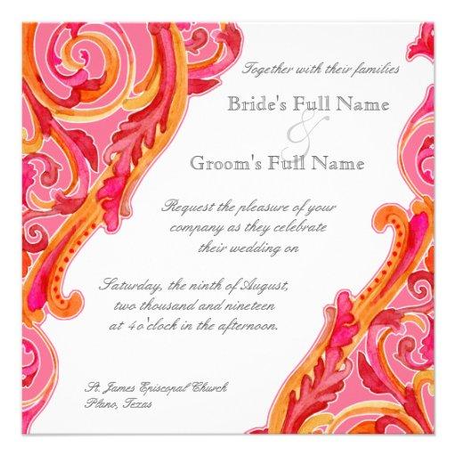 Modern Swirl Flourish Heart Tangerine Hot Pink Invitation