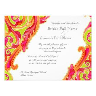 Modern Swirl Flourish Heart Tangerine Lime Green Invitations